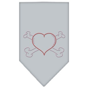 Heart Crossbone Rhinestone Bandana Grey Small